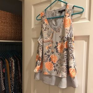 Crane and Floral print sleeveless blouse